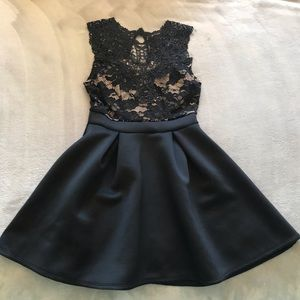 Daylight Black and Tan Lace Cocktail dress